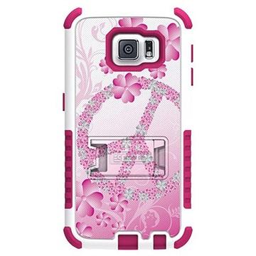 Samsung Galaxy S6 Beyond Cell Tri Shield Design Hybride Cover Flower Peace