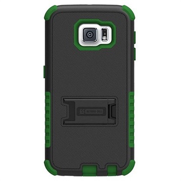 Samsung Galaxy S6 Beyond Cell Tri Shield Hybrid Cover Zwart / Groen