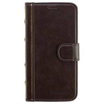 Samsung Galaxy S6 Commander Book Elite Antique Flip Leren Case Bruin