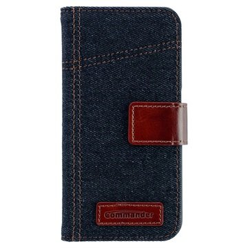 Samsung Galaxy S6 Commander Book Elite Jeans Flip Case Jeans Blauw / Bruin