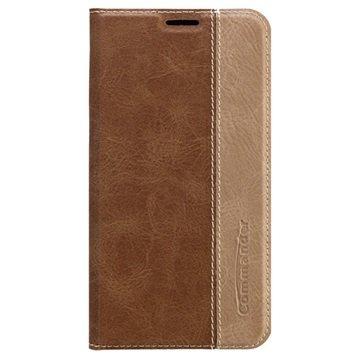 Samsung Galaxy S6 Commander Book Flip Leren Case Bruin