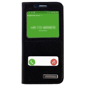 Samsung Galaxy S6 Commander Double Window Flip Leren Case Zwart