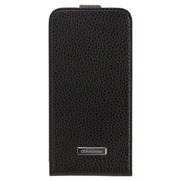 Samsung Galaxy S6 Commander Premium DeLuxe Vertical Flip Leren Case Zwart