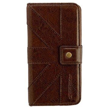 Samsung Galaxy S6 Commander Venice Book Flip Leren Case Bruin
