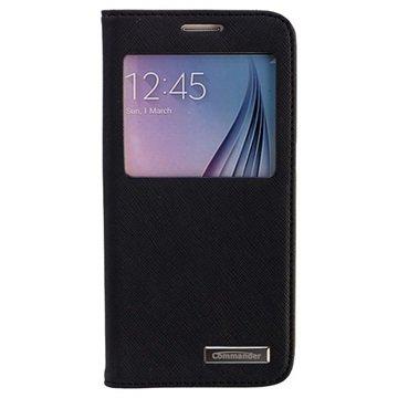 Samsung Galaxy S6 Commander Window Cross Flip Leren Case Zwart