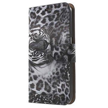 Samsung Galaxy S6 Wallet Hoesje - Luipaard Zwart