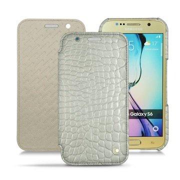 Samsung Galaxy S6 Noreve Tradition D Flip Leren Case Horizon Crocodile- Milk