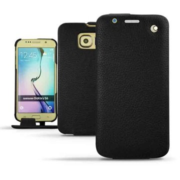 Samsung Galaxy S6 Noreve Traditionele Lederen Flip Case Ambition Ebène