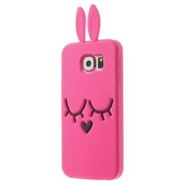 Samsung Galaxy S6 Siliconen Hoesje - Konijnenoren Hot Pink