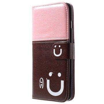 iPhone 6 Plus / 6S Plus Smile Wallet Leren Hoesje Roze / Bruin