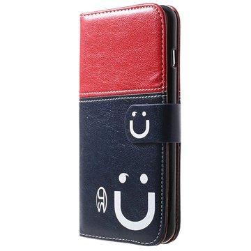iPhone 6 Plus / 6S Plus Smile Wallet Leren Hoesje Rood / Donkerblauw