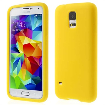 Siliconen hoesje voor samsung galaxy s 5   geel. deze beschermende en stijlvolle siliconen case is geschikt ...