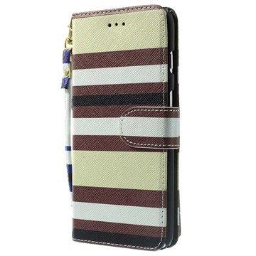iPhone 6 Plus / 6S Plus Striped Wallet Leren Hoesje Beige
