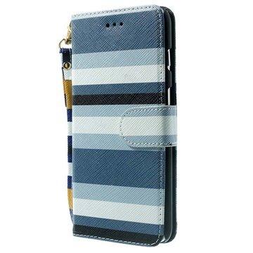 iPhone 6 Plus / 6S Plus Striped Wallet Leren Hoesje Blauw