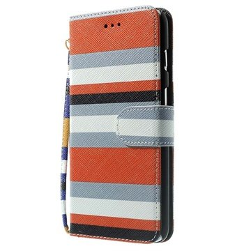 iPhone 6 Plus / 6S Plus Striped Wallet Leren Hoesje Oranje