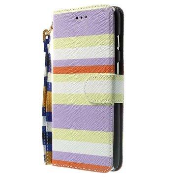 iPhone 6 Plus / 6S Plus Striped Wallet Leren Hoesje Paars