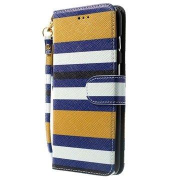 iPhone 6 Plus / 6S Plus Striped Wallet Leren Hoesje Geel