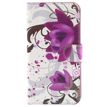 Samsung Galaxy J5 Stylish Wallet Hoesje Lotusbloem