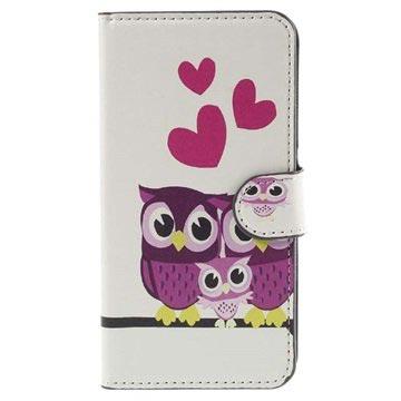 Samsung Galaxy J5 Stylish Wallet Hoesje Owl Family