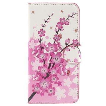 Samsung Galaxy J5 Stylish Wallet Hoesje Roze Bloemen