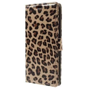 Wallet hoesje voor samsung galaxy e 5   luipaard  modieuze luipaard portemonnee case biedt een stijlvolle ...