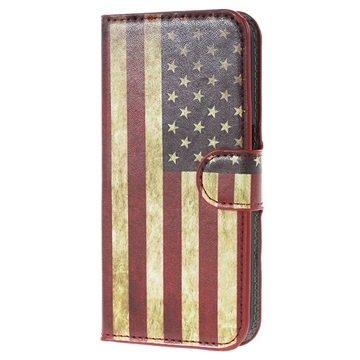 Samsung Galaxy S6 Stylish Wallet Hoesje Vintage Amerikaanse Vlag