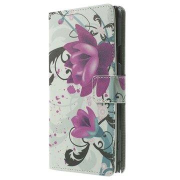 Samsung Galaxy Note 4 Stylish Wallet Leren Hoesje Lotusbloem