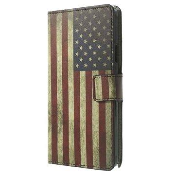 Samsung Galaxy Note 4 Stylish Wallet Leren Hoesje Vintage American Flag
