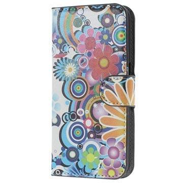 Samsung Galaxy S6 Stylish Wallet Hoesje Kleurrijke Bloemen
