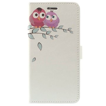 iPhone 6 Plus / 6S Plus Stylish Wallet Leren Hoesje Owl Couple