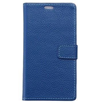 Samsung Galaxy S6 Active Textured Wallet Leren Hoesje Blauw