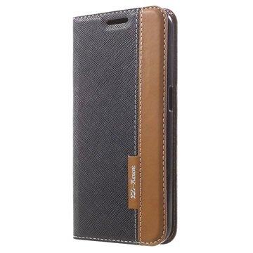 Samsung Galaxy S6 Two-tone Textured Wallet Hoesje Zwart / Bruin