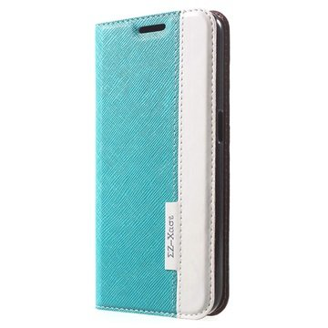Samsung Galaxy S6 Two-tone Textured Wallet Hoesje Blauw / Wit