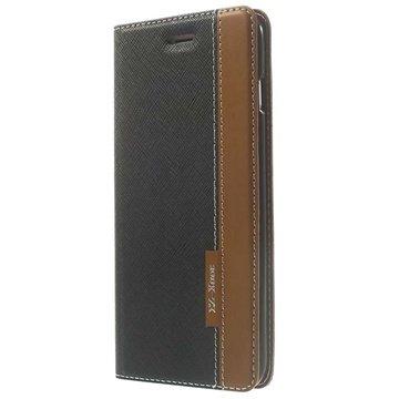 iPhone 6 Plus / 6S Plus Two-tone Textured Wallet Leren Hoesje Zwart / Bruin