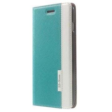 iPhone 6 Plus / 6S Plus Two-tone Textured Wallet Leren Hoesje Blauw / Wit