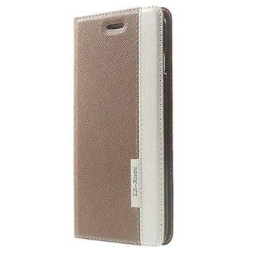 iPhone 6 Plus / 6S Plus Two-tone Textured Wallet Leren Hoesje Goud / Wit