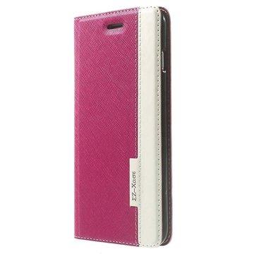 iPhone 6 Plus / 6S Plus Two-tone Textured Wallet Leren Hoesje Hot Pink / Wit
