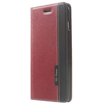iPhone 6 Plus / 6S Plus Two-tone Textured Wallet Leren Hoesje Rood / Zwart