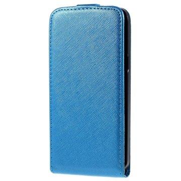 Samsung Galaxy J5 Vertical Flip Case Lichtblauw