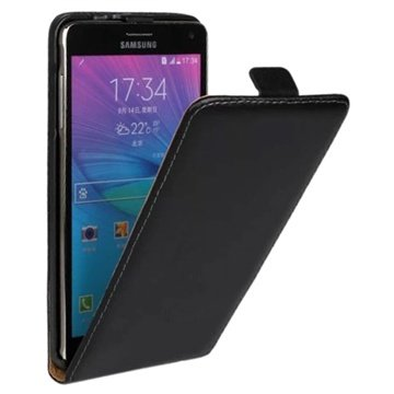 Samsung Galaxy Note 4 Vertical Flip Leren Case Zwart