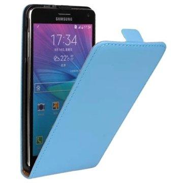 Samsung Galaxy Note 4 Vertical Flip Leren Case Blauw