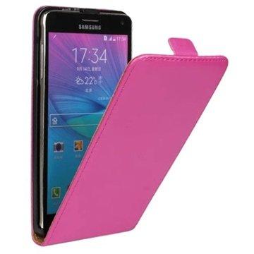 Samsung Galaxy Note 4 Vertical Flip Leren Case Hot Pink
