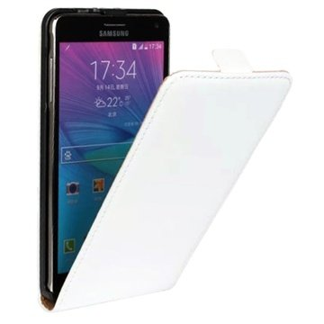 Samsung Galaxy Note 4 Vertical Flip Leren Case Wit