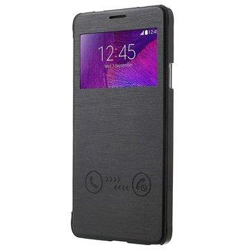 Samsung Galaxy Note 4 View Sliding Series Flip Case Zwart