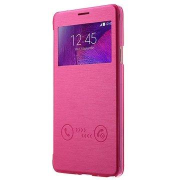 Samsung Galaxy Note 4 View Sliding Series Flip Case Hot Pink