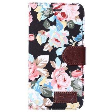 iPhone 6 Plus / 6S Plus Wallet Hoesje - Bloemen Zwart