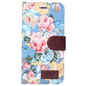 iPhone 6 Plus / 6S Plus Wallet Hoesje - Bloemen Blauw
