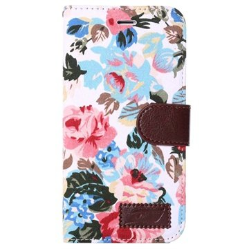 iPhone 6 Plus / 6S Plus Wallet Hoesje - Bloemen Wit