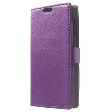 HTC Desire 510 Wallet Leren Hoesje Paars