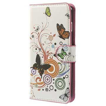 iPhone 6 Plus / 6S Plus Wallet Leren Hoesje Vlinders / Cirkels
